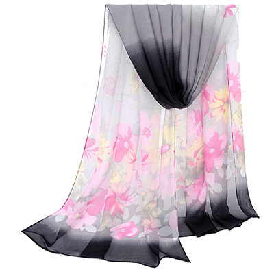 Authentic Gray Gradient Flower Pattern Simple Design Silk Thin Scaves