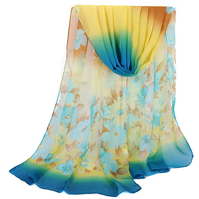 Teen Blue Gradient Flower Pattern Simple Design Silk Thin Scaves