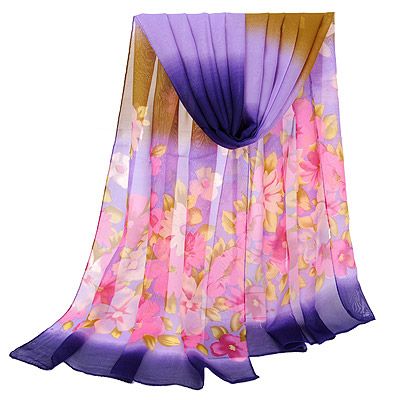 Casual Purple Gradient Flower Pattern Simple Design Silk Thin Scaves