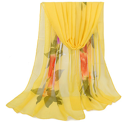 Cheerleadi Yellow Large Peony Pattern Simple Design Silk Thin Scaves