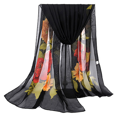 Apparel Black Large Peony Pattern Simple Design Silk Thin Scaves