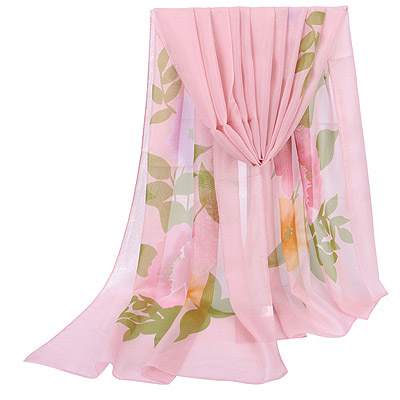 Graduated Pink Large Peony Pattern Simple Design Silk Thin Scaves