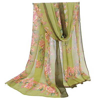Magnetic Army Green Flower Pattern Gradient Design Silk Thin Scaves