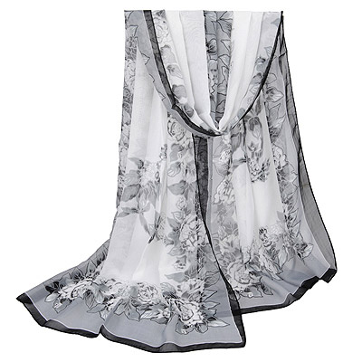 Fall Gray Flower Pattern Gradient Design Silk Thin Scaves