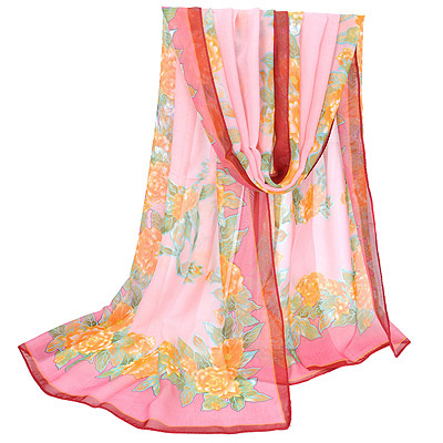 Indie Pink Flower Pattern Gradient Design Silk Thin Scaves