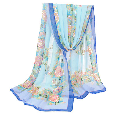 Cheerleadi Blue Flower Pattern Gradient Design Silk Thin Scaves