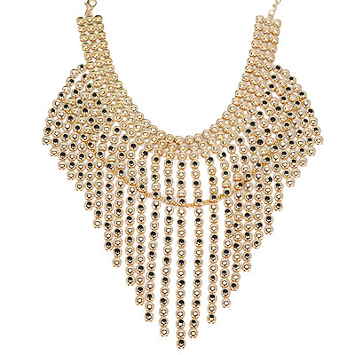 Genuine Gold Color Beads Decorated Tassel Design Alloy Bib Necklaces