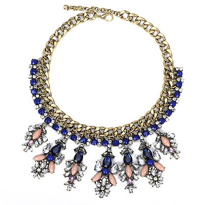 Funky Blue Gmestone Decorated Leaf Shape Design Alloy Bib Necklaces