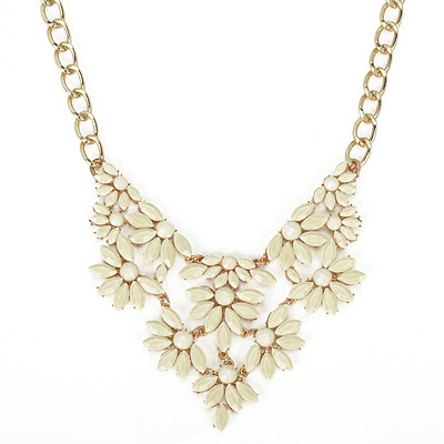 Chic Beige Gemstone Decorated Fan Shape Design Alloy Bib Necklaces