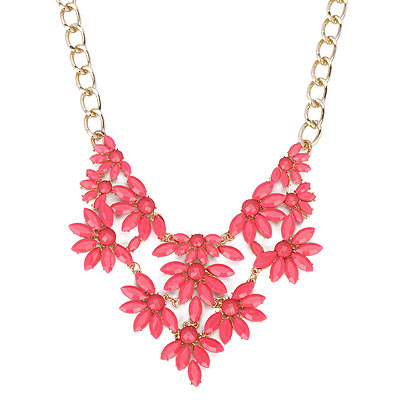 Propper Plum Red Gemstone Decorated Fan Shape Design Alloy Bib Necklaces
