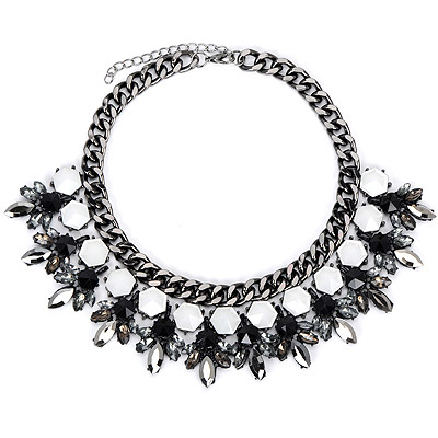Rachel Gun Black Diamond Decorated Leaf Shape Design Alloy Bib Necklaces