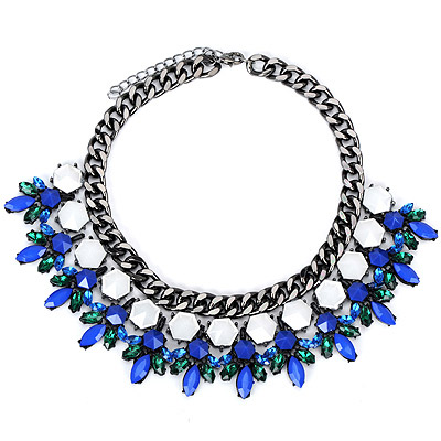Creative Blue Diamond Decorated Leaf Shape Design Alloy Bib Necklaces
