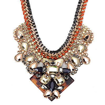 Concealed Gold Color Gemstone Decorated Weave Design Alloy Bib Necklaces