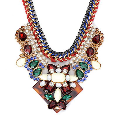 Chiropract White Gemstone Decorated Weave Design Alloy Bib Necklaces