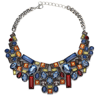 Engravable Blue & Red Gemstone Decorated Geometrical Shape Design Alloy Bib Necklaces