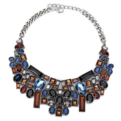 Denim Black & Coffee Gemstone Decorated Geometrical Shape Design Alloy Bib Necklaces
