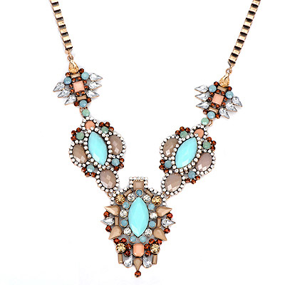 Wide Light Blue Gemstone Decorated Flower Design Alloy Bib Necklaces