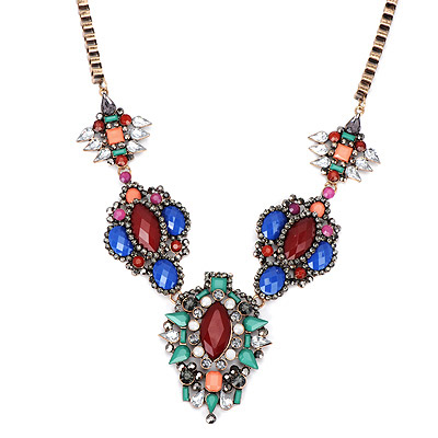 Vintage Claret-red Gemstone Decorated Flower Design Alloy Bib Necklaces