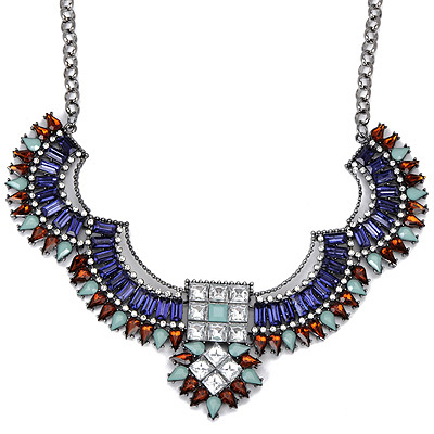 Square Blue Diamond Decorated Geometrical Shape Design Alloy Bib Necklaces
