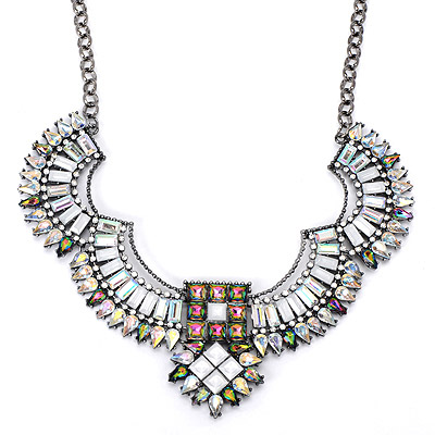 Sapphire White Diamond Decorated Geometrical Shape Design Alloy Bib Necklaces