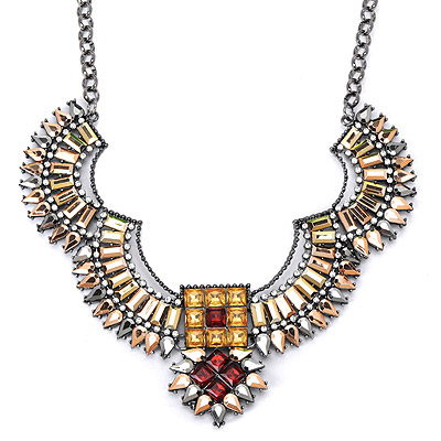 Expensive Gold Diamond Decorated Geometrical Shape Design Alloy Bib Necklaces