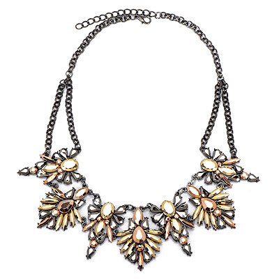 Writing Gold Color Diamond Decorated Leaf Shape Design Alloy Bib Necklaces