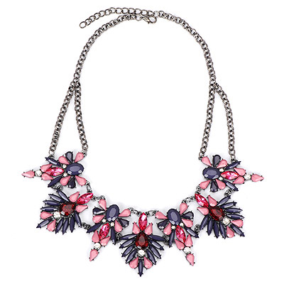 Sparrow Dark Purple Diamond Decorated Leaf Shape Design Alloy Bib Necklaces