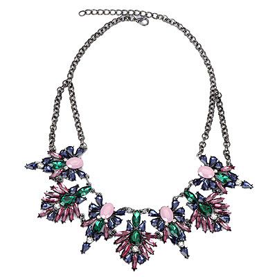 Skinny Green Diamond Decorated Leaf Shape Design Alloy Bib Necklaces