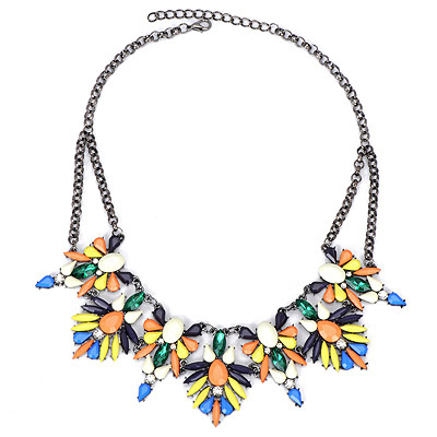 Friendship Multicolor Diamond Decorated Leaf Shape Design Alloy Bib Necklaces