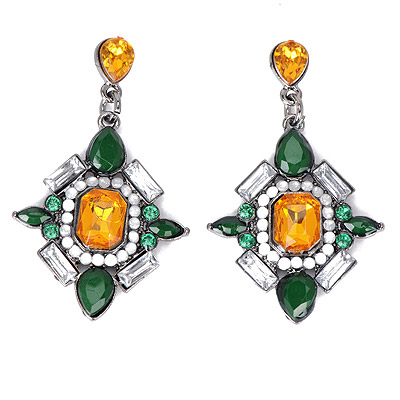 Stationery Green&yellow Gemstone Decorated Square Shape Design Alloy Stud Earrings