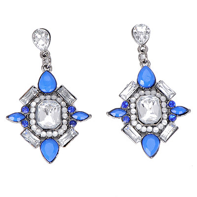 Deathly White&blue Gemstone Decorated Square Shape Design Alloy Stud Earrings