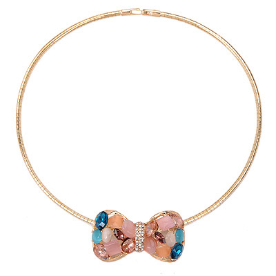 Screw Multicolor Gemstone Decorated Bowknot Design Alloy Chokers