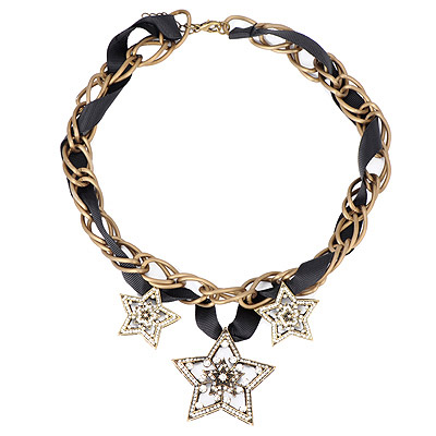 Alternativ Bronze Diamond Decorated Star Pendant Design Alloy Bib Necklaces