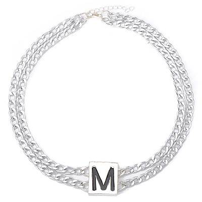 Outlook Silver Color Letter M Decorated Double Layer Design Alloy Chokers