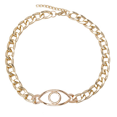 Monarch Gold Color Eye Shape Decorated Simple Design Alloy Chains