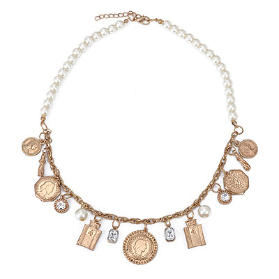 Define Gold Color Gold & Pearl Pendant Simple Design Alloy Bib Necklaces