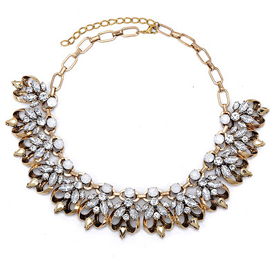 Upper White Gemstone Decorated Bee Shape Design Alloy Bib Necklaces