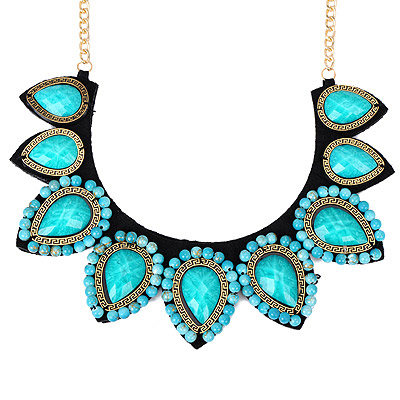 Avalon Green Gemstone Decorated Waterdrop Shape Design Alloy Bib Necklaces