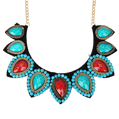 Quality Green & Red Gemstone Decorated Waterdrop Shape Design Alloy Bib Necklaces