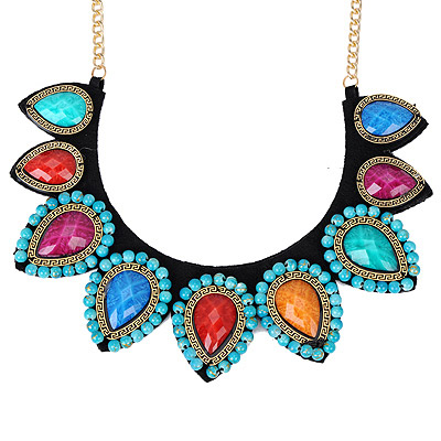Sweet Multicolor Gemstone Decorated Waterdrop Shape Design Alloy Bib Necklaces