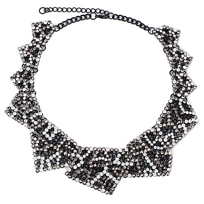 Affinity Whithe & Gray Diamond Decorated Hollow Out Design Alloy Bib Necklaces