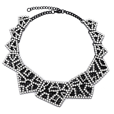 Military White Diamond Decorated Hollow Out Design Alloy Bib Necklaces