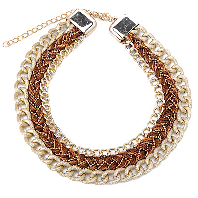 Printed Brown Twist Multilayer Design Alloy Bib Necklaces