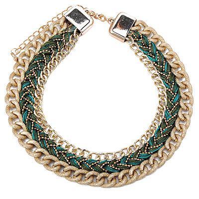 Square Green Twist Multilayer Design Alloy Bib Necklaces