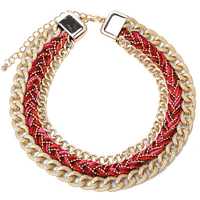 Hydraulic Plum Red Twist Multilayer Design Alloy Bib Necklaces