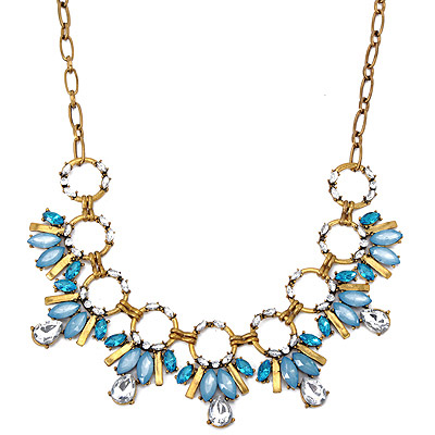 Rugged Blue Diamond Decorated Bee Shape Design Alloy Bib Necklaces