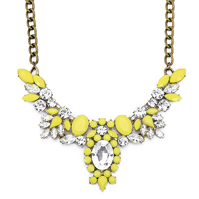 Funky Yellow Gemstone Decorated Oval Shape Design Alloy Bib Necklaces