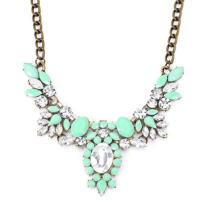 Nautical Green Gemstone Decorated Oval Shape Design Alloy Bib Necklaces