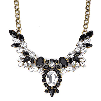 Asian Black Gemstone Decorated Oval Shape Design Alloy Bib Necklaces