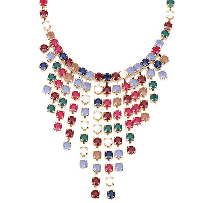 Specialty Multicolor Gemstone Decorated Tassel Design Alloy Bib Necklaces